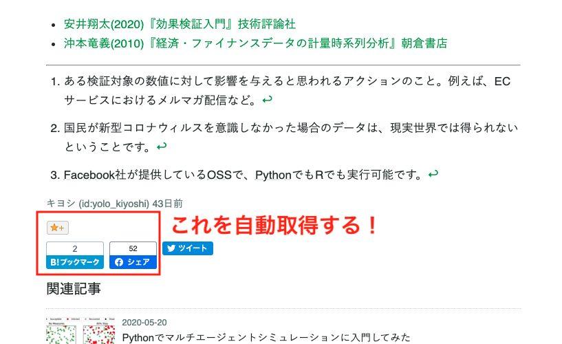 PythonではてなブログのSNSリアクション数を取得する方法